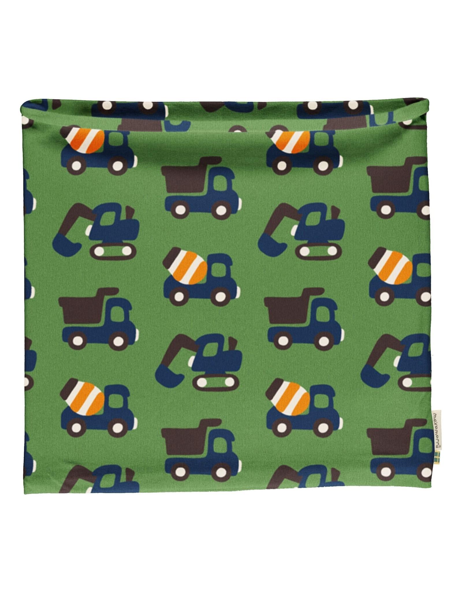 Maxomorra Buff sjaal (velours binnenkant) met constructie voertuigen (MAAT 98/140)