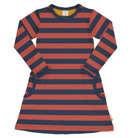 Maxomorra Kleedje met blauw en roodoranje strepen