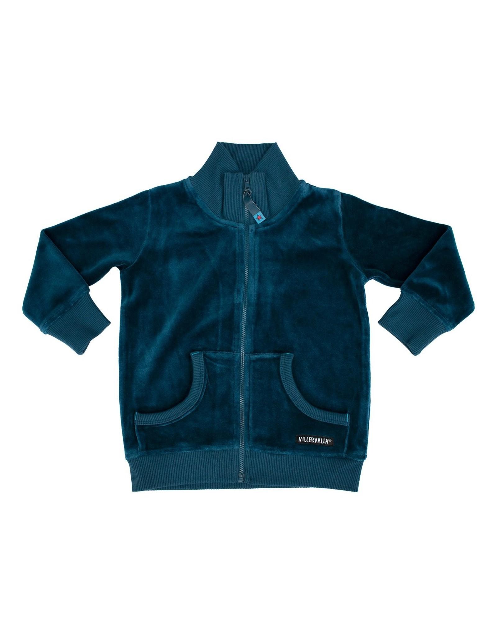 Villervalla Blauwe velours unisex vest met rits