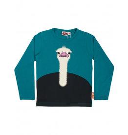 Dyr Petrol blauwe t-shirt met struisvogel - LAATSTE MAAT 6Y
