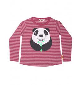 Dyr Roze gestreepte panda t-shirt - LAATSTE MAAT 4Y