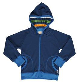 Maxomorra Donkerblauwe zachte velours unisex hoodie vest