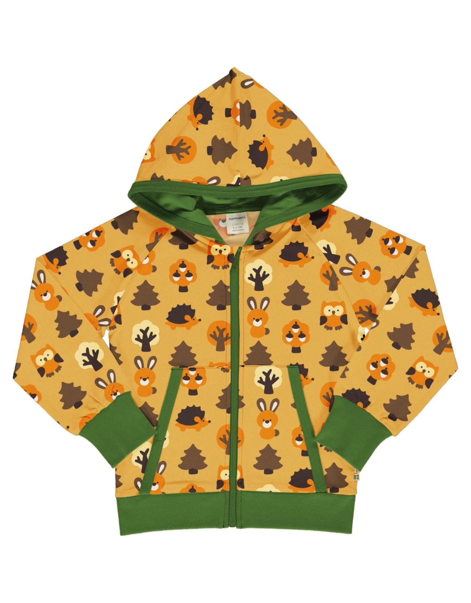 Maxomorra Gele hoodie vest met dieren uit het bos