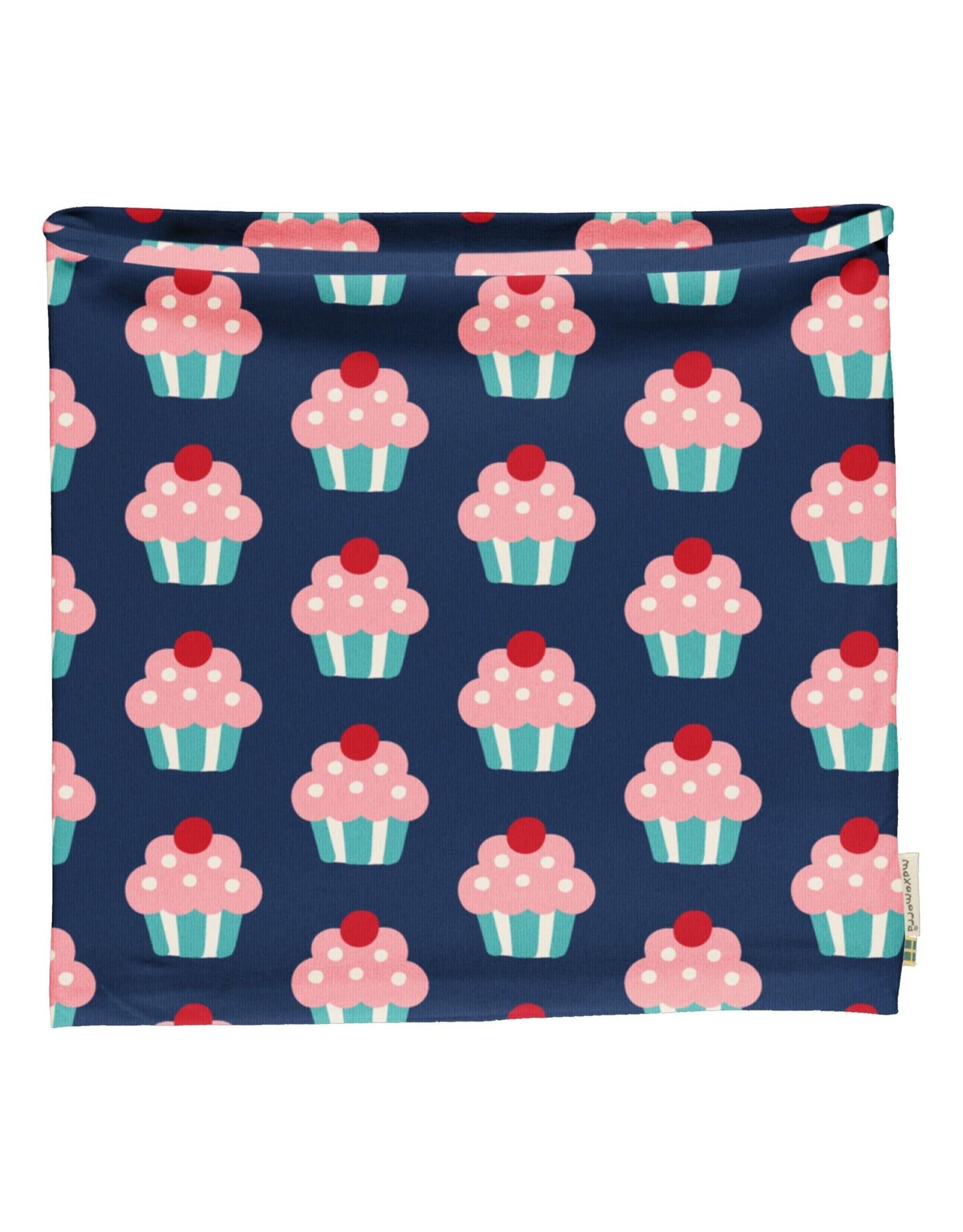 Maxomorra Buff sjaal (binnenkant velours) met cupcake print - MAAT 98/140
