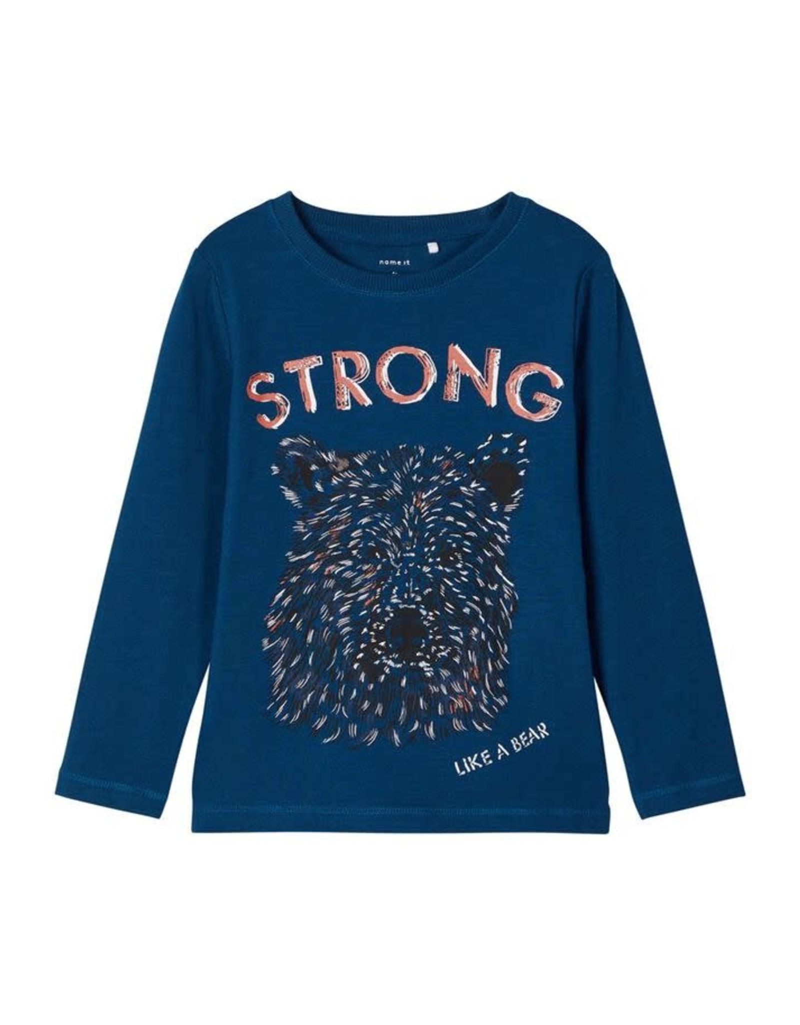 Name It Blauwe t-shirt met beer - LAATSTE MAAT 92