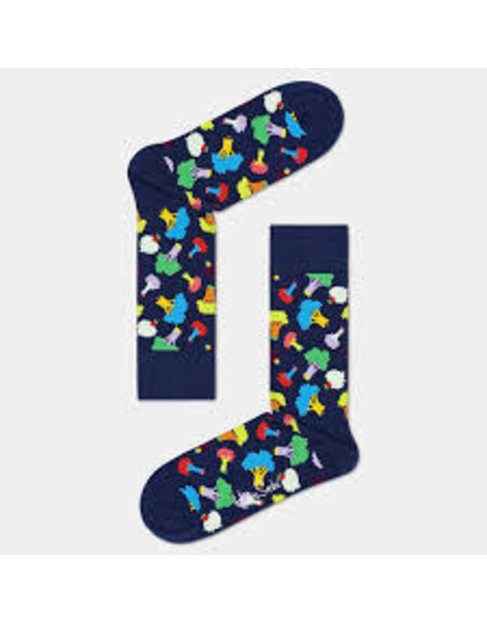 Happy Socks MAAT 36/40 - Blauwe sokken met broccoli print