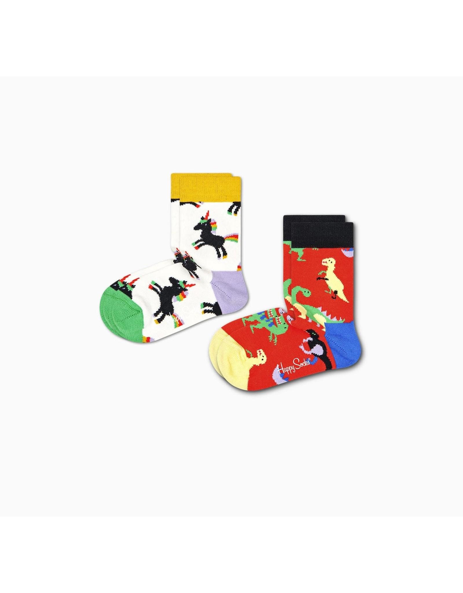 Happy Socks 2-pack dino en eenhoorn sokken