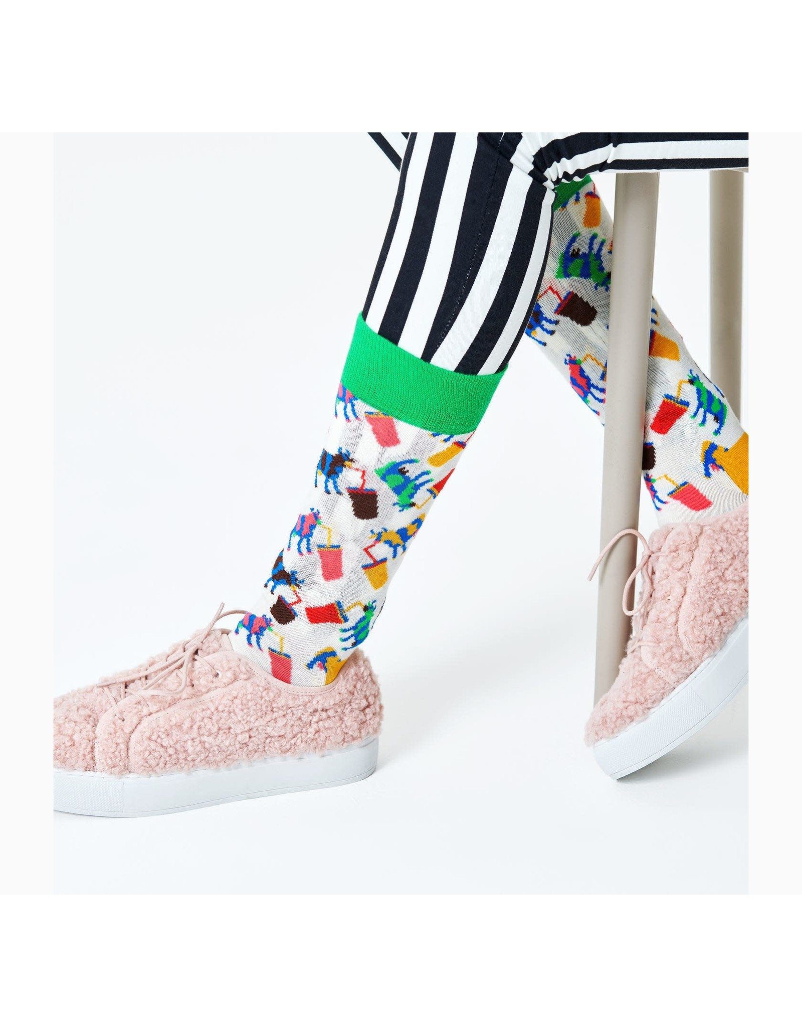 Happy Socks MAAT 36/40 - Witte sokken met milkshakes en koeien