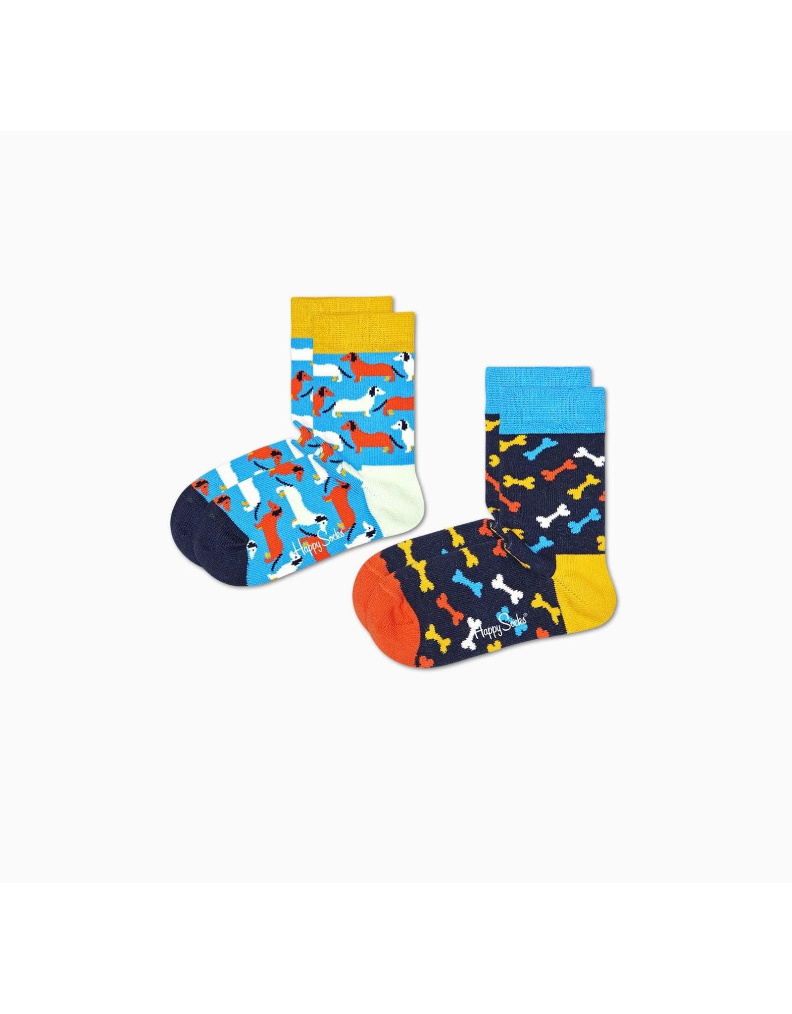 Happy Socks 2-pack kindersokken met hondenprintjes