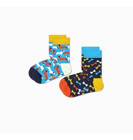 Happy Socks 2-pack kindersokken met hondenprintjes