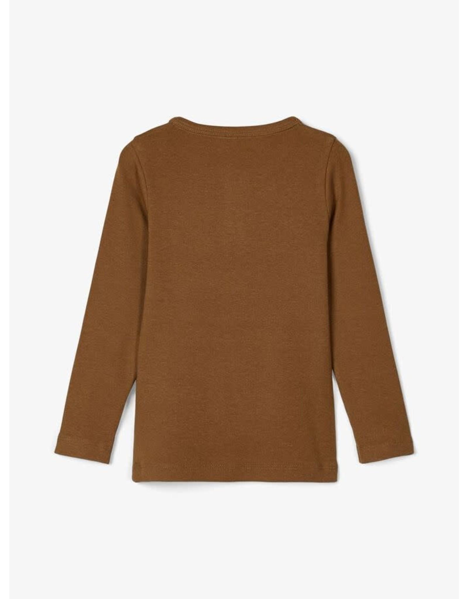 Name It Mooie zacht bruine slim fit t-shirt uit bio katoen