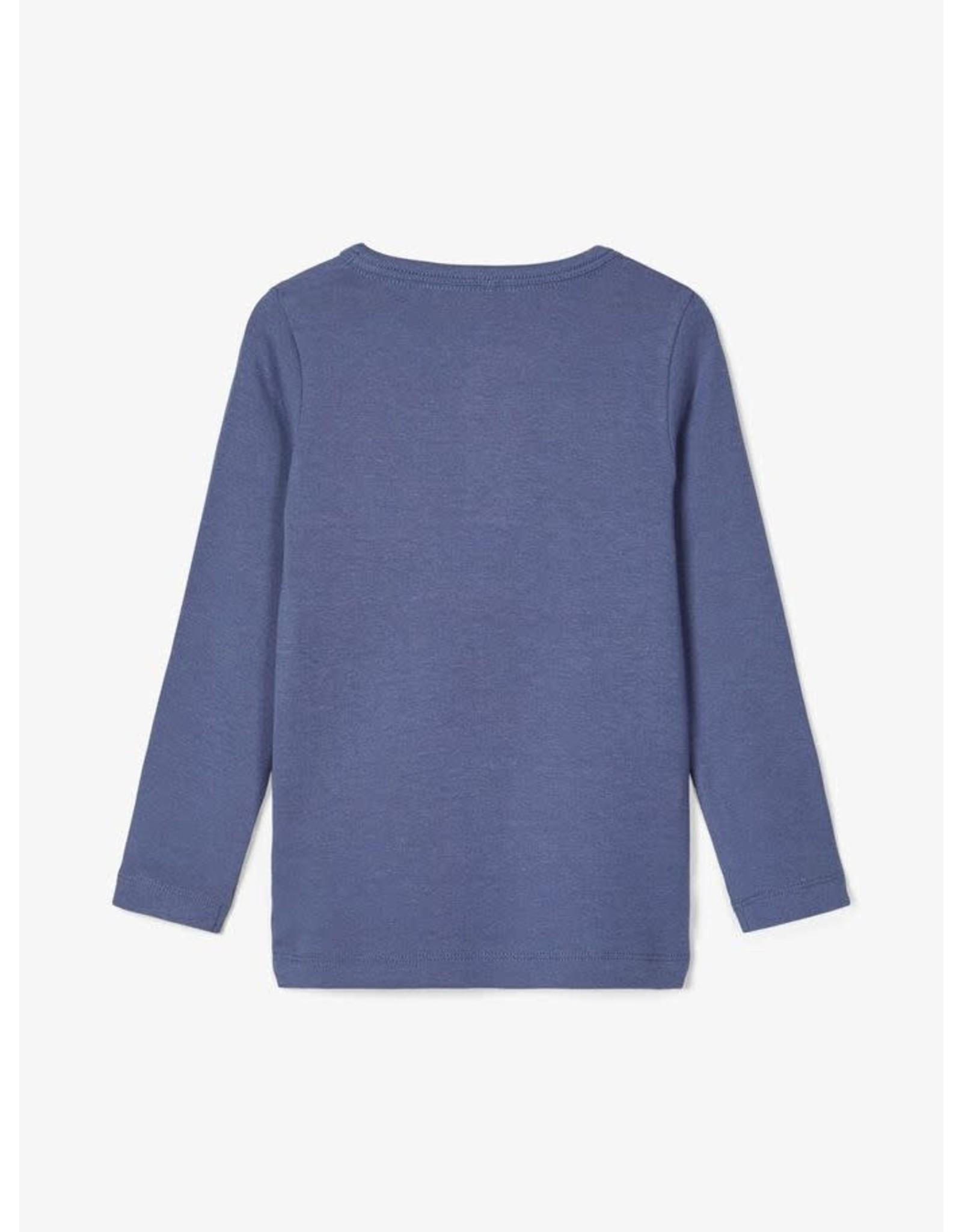 Name It Mooie zacht blauwe slim fit t-shirt uit bio katoen