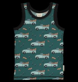 Meyadey Mouwloze t-shirt met boomstammen op pickup wagens