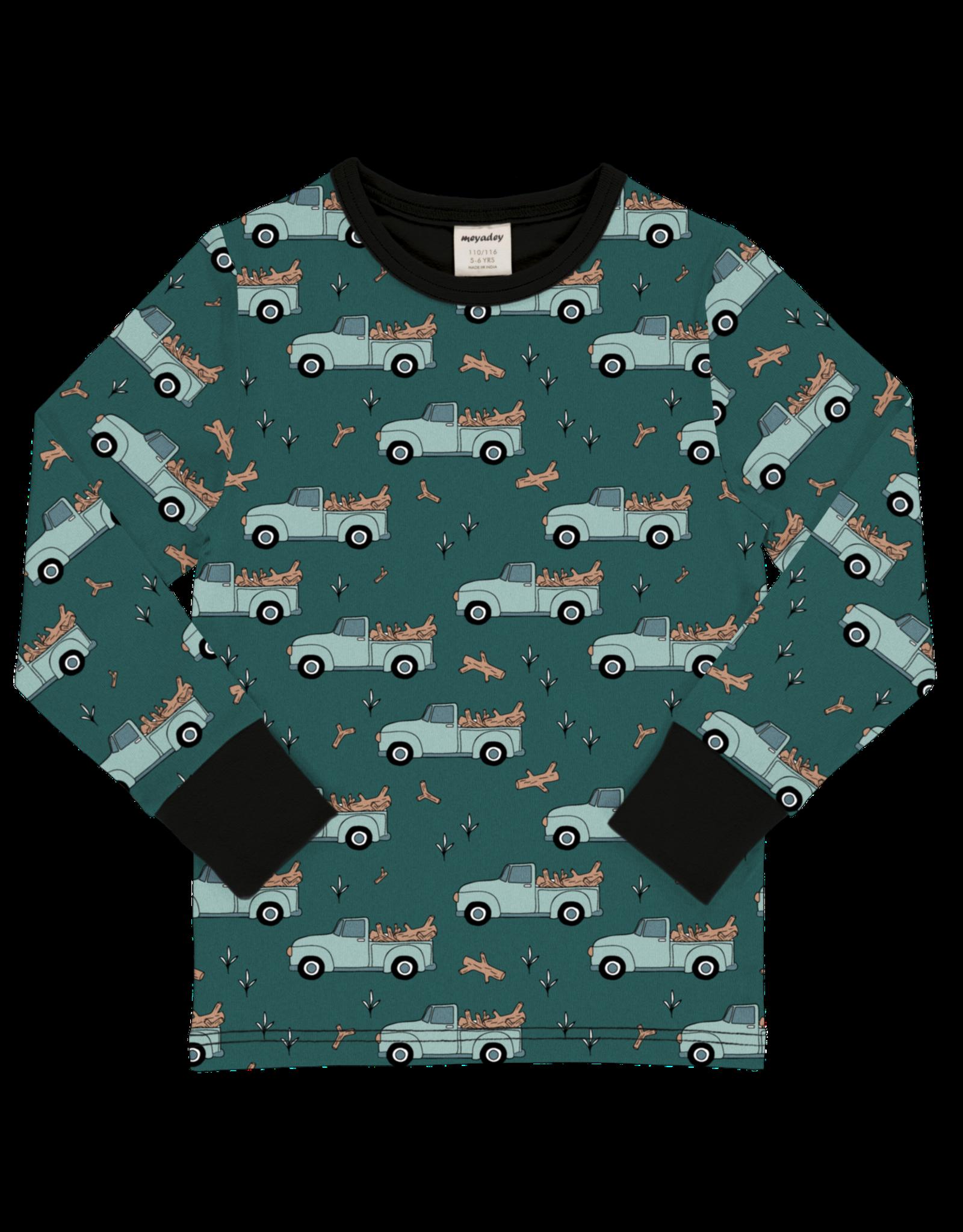 Meyadey T-shirt met pickup truck en boomstammen