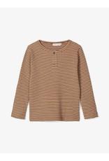 Name It T-shirt met bruin witte streepjes