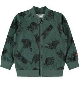 Name It Groene vest met rits en wasberen