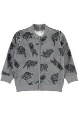 Name It Grijze vest met rits en wasberen