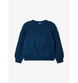 Name It Blauwe gebreide trui met pofmouwen