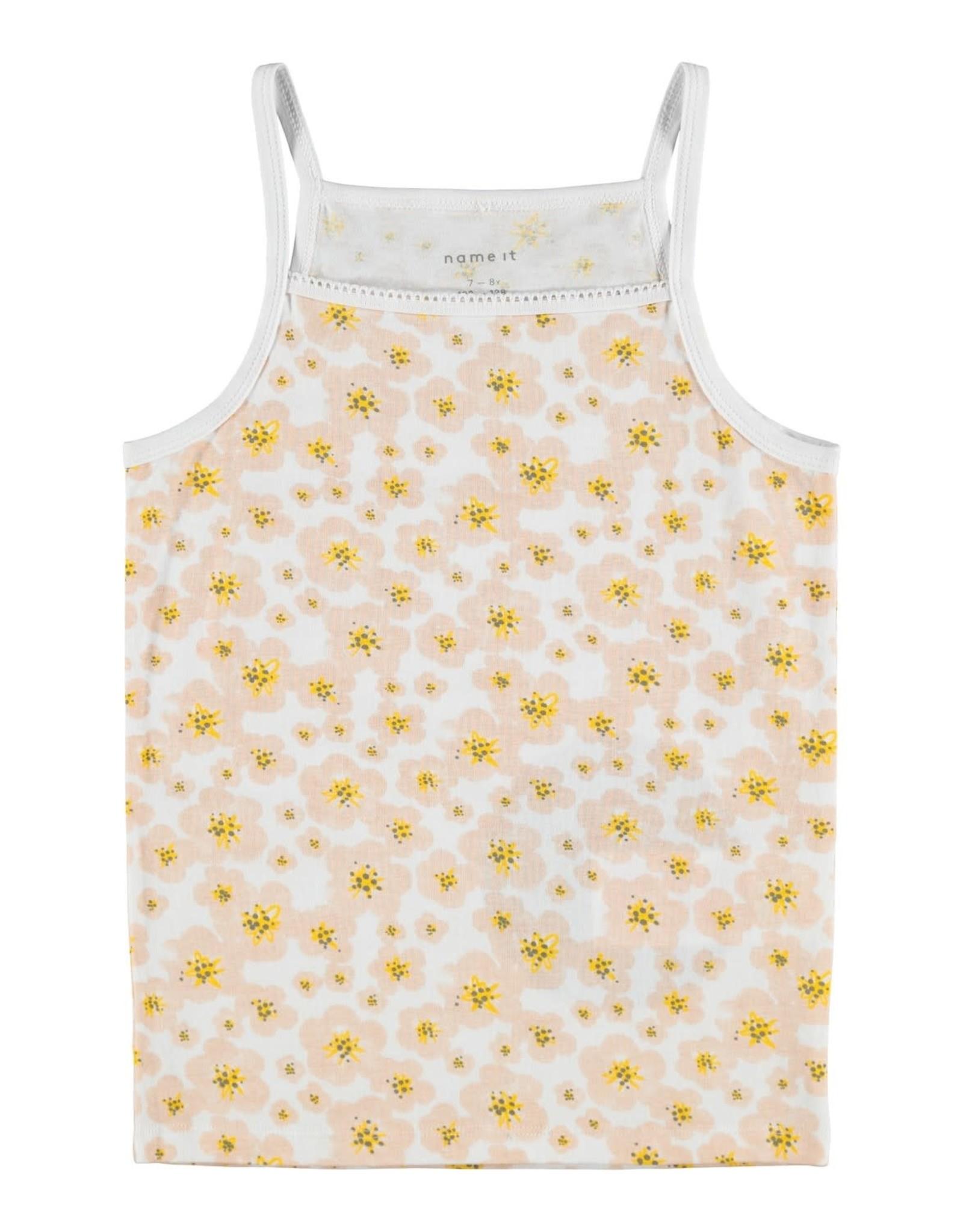 Name It 2-pack topje (1 effen en 1 gele bloemetjes)