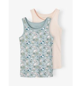 Name It 2-pack tanktop (1 effen en 1 vlindertjes/bloemen)
