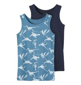 Name It 2-pack tanktop (1 effen en 1 dino print)