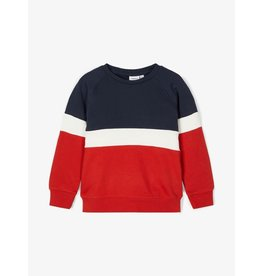 Name It Blauw-rode colour block trui (tot maat 110)