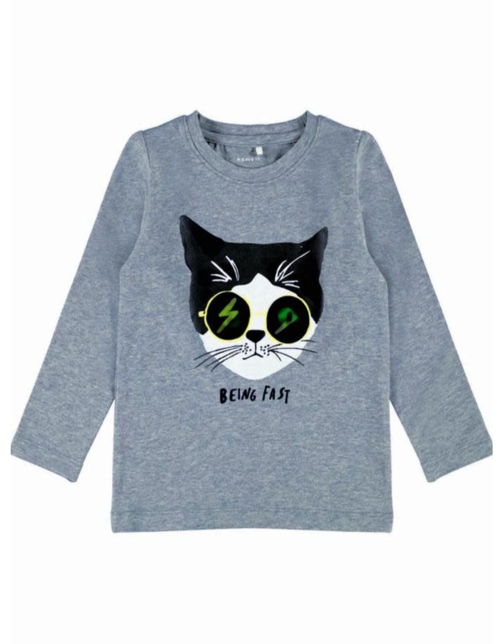 Name It Grijze t-shirt met poes en ogen die veranderen