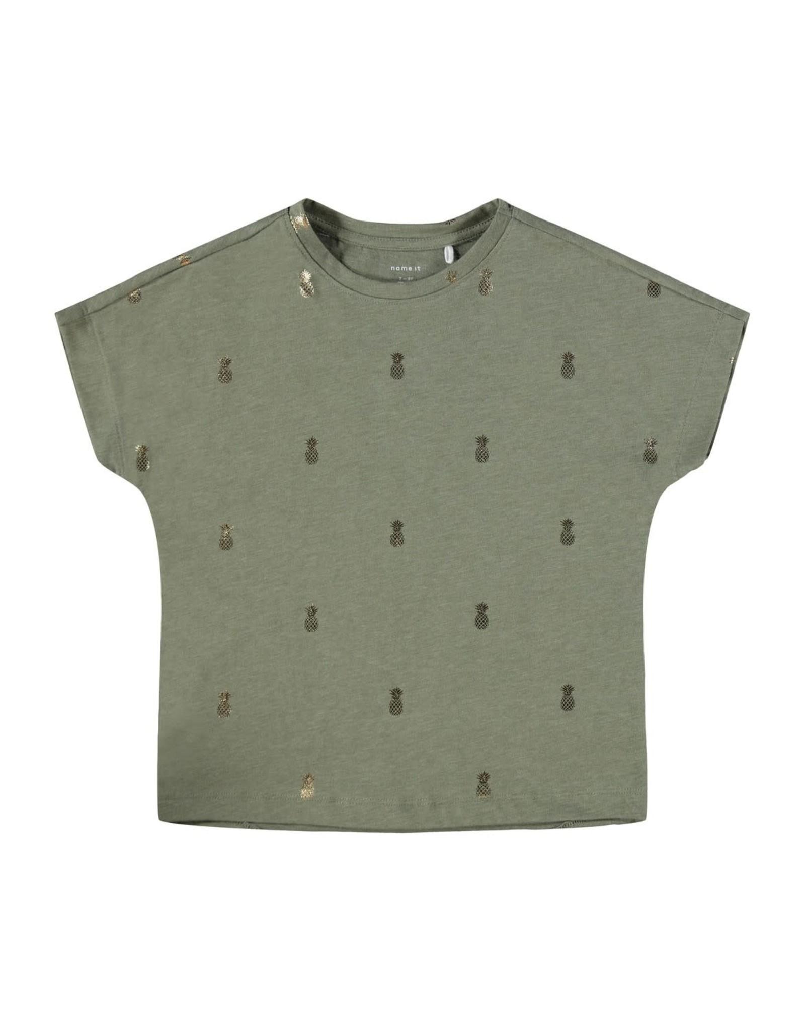Name It Groene bredere t-shirt met kleine ananassen