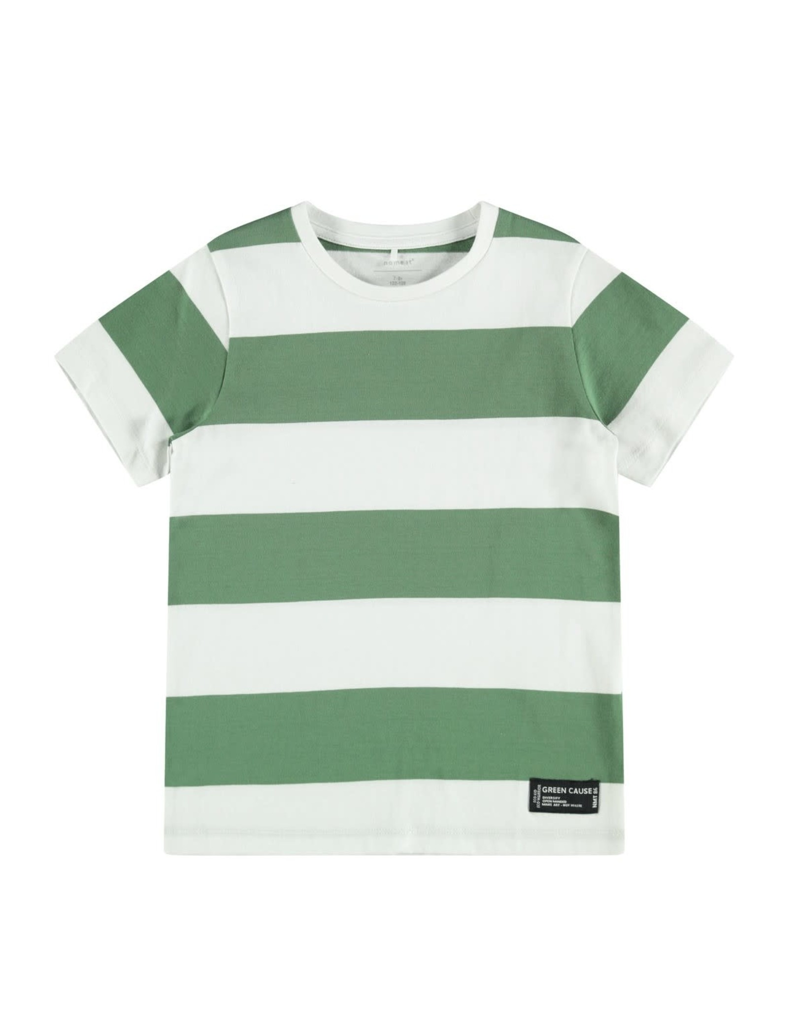 Name It T-shirt met groen/witte strepen