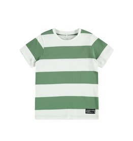 Name It T-shirt met groen/witte strepen