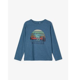 Name It Blauwe t-shirt met dinosaurus print