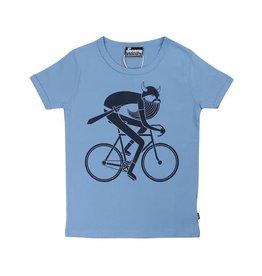 Danefae Licht blauwe t-shirt met fietsende viking