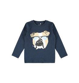 Name It Blauwe t-shirt met bulldog hond