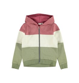Name It Colour block meisjes glitter hoodie groen-roze-beige