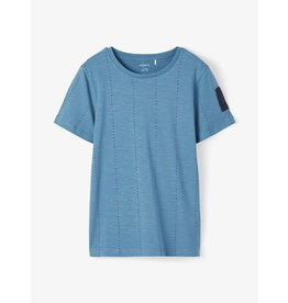 Name It Blauwe t-shirt met verticale alfabet print