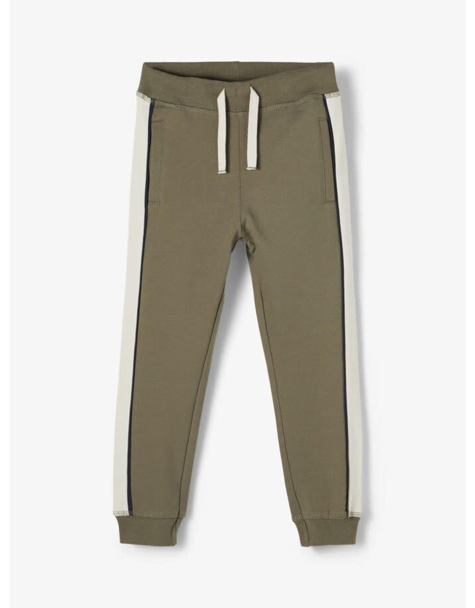 Name It Groene jogging broek met zijstreep