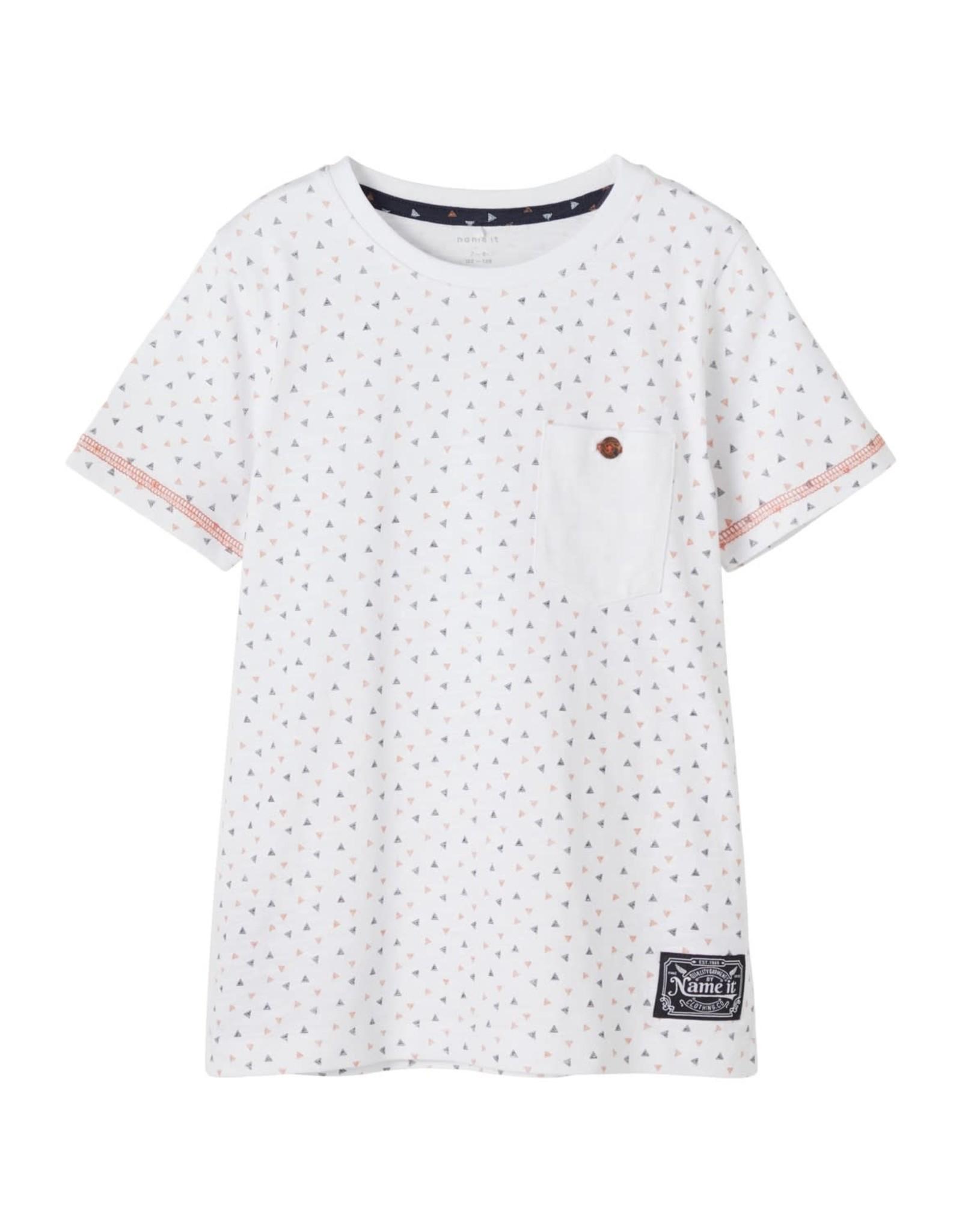 Name It Witte t-shirt met zakje en geometrisch patroon