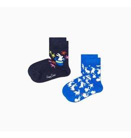 Happy Socks 2-pack goochelsokken voor kinderen met konijnen