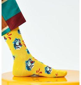 Happy Socks MAAT 36/40 - Halflange gele tijgersokken