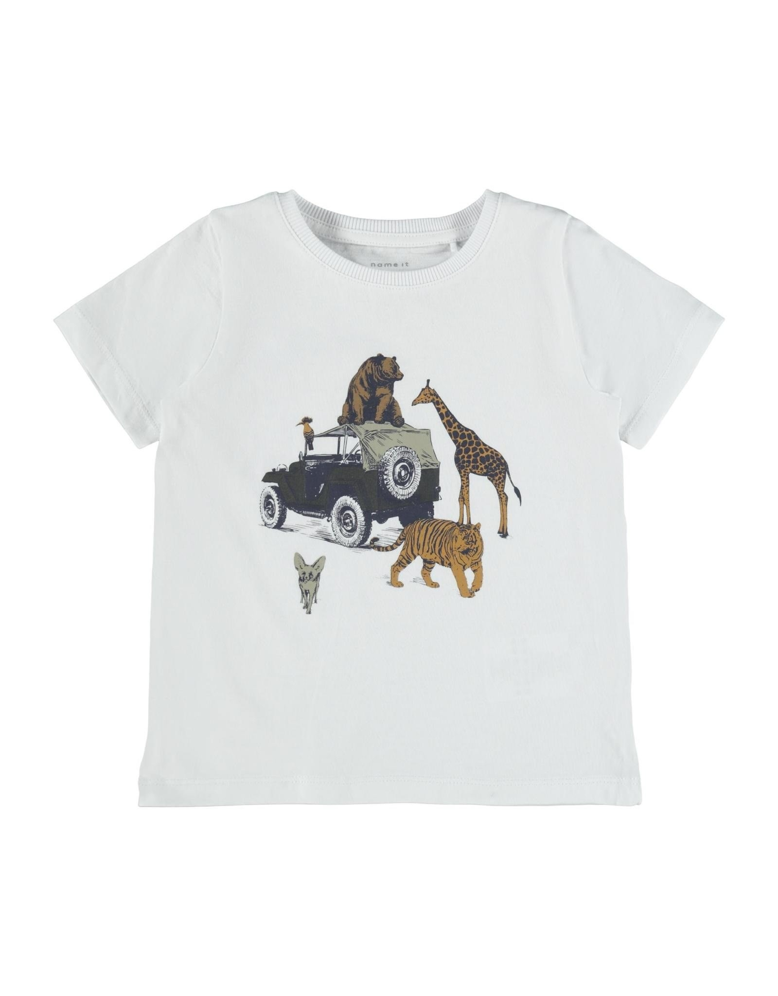 Name It Witte t-shirt met wilde dieren