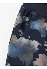 Name It Blauwe joggingbroek met wereldkaart en wilde dieren