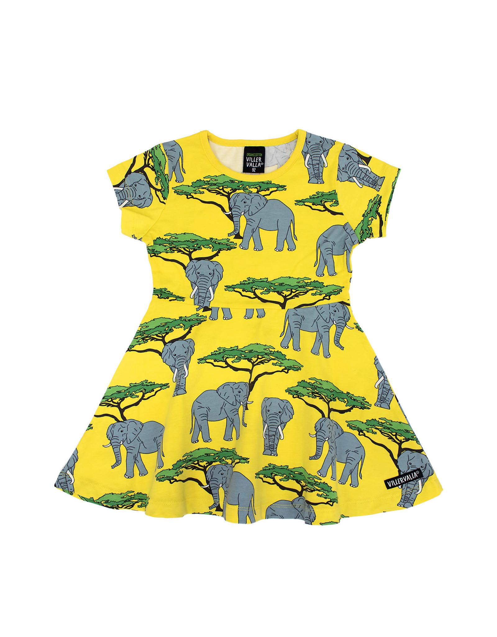 Villervalla Vrolijk geel zwierkleedje met olifanten