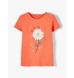 Name It Oranje t-shirt met pareltjes bloem