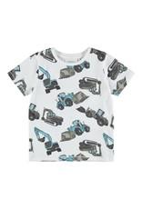 Name It Witte t-shirt met graafmachines print