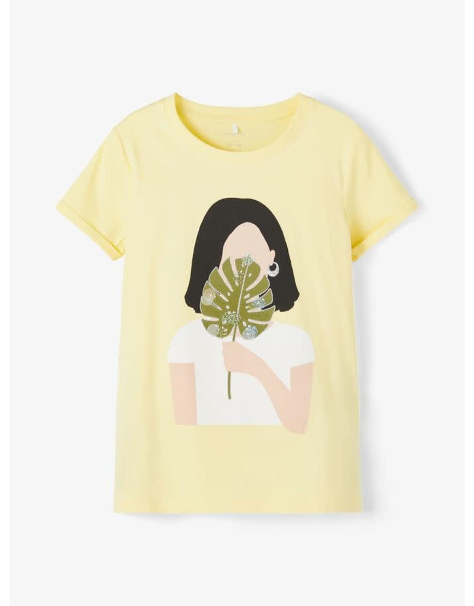Name It Vrolijke gele biokatoen meisjes t-shirt