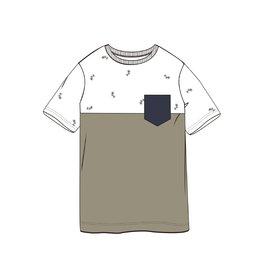 Name It Groen-witte t-shirt met kleine palmbomen