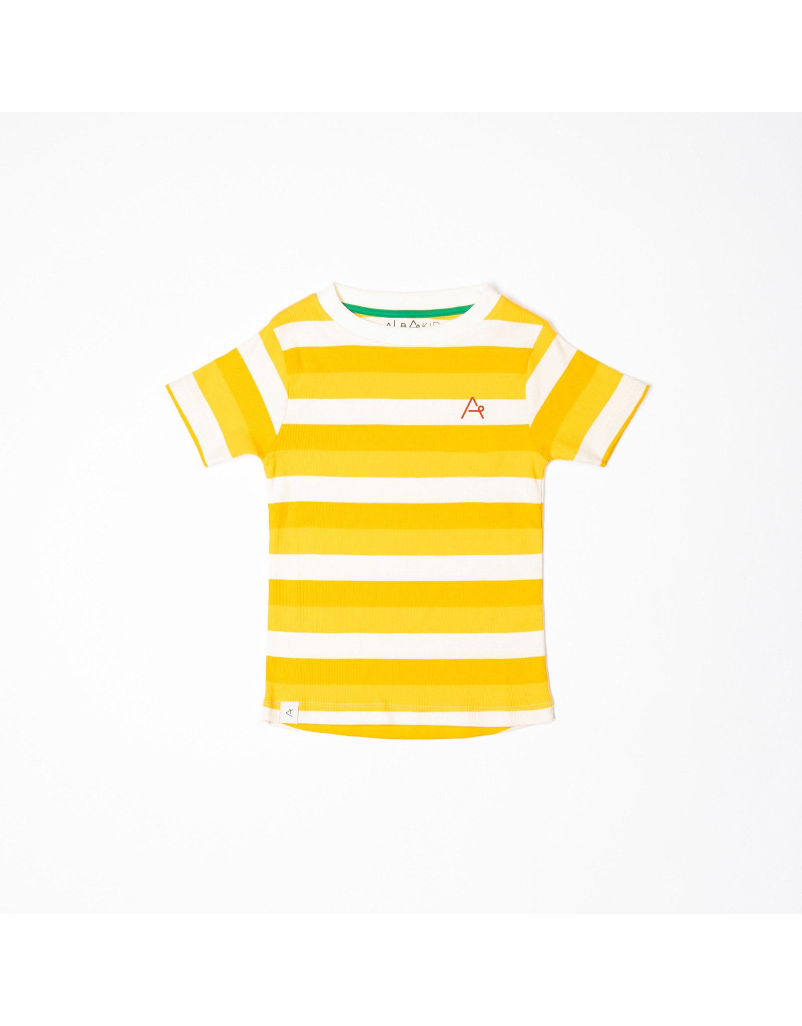 ALBA of Denmark Vrolijke t-shirt met geel-witte streepjes