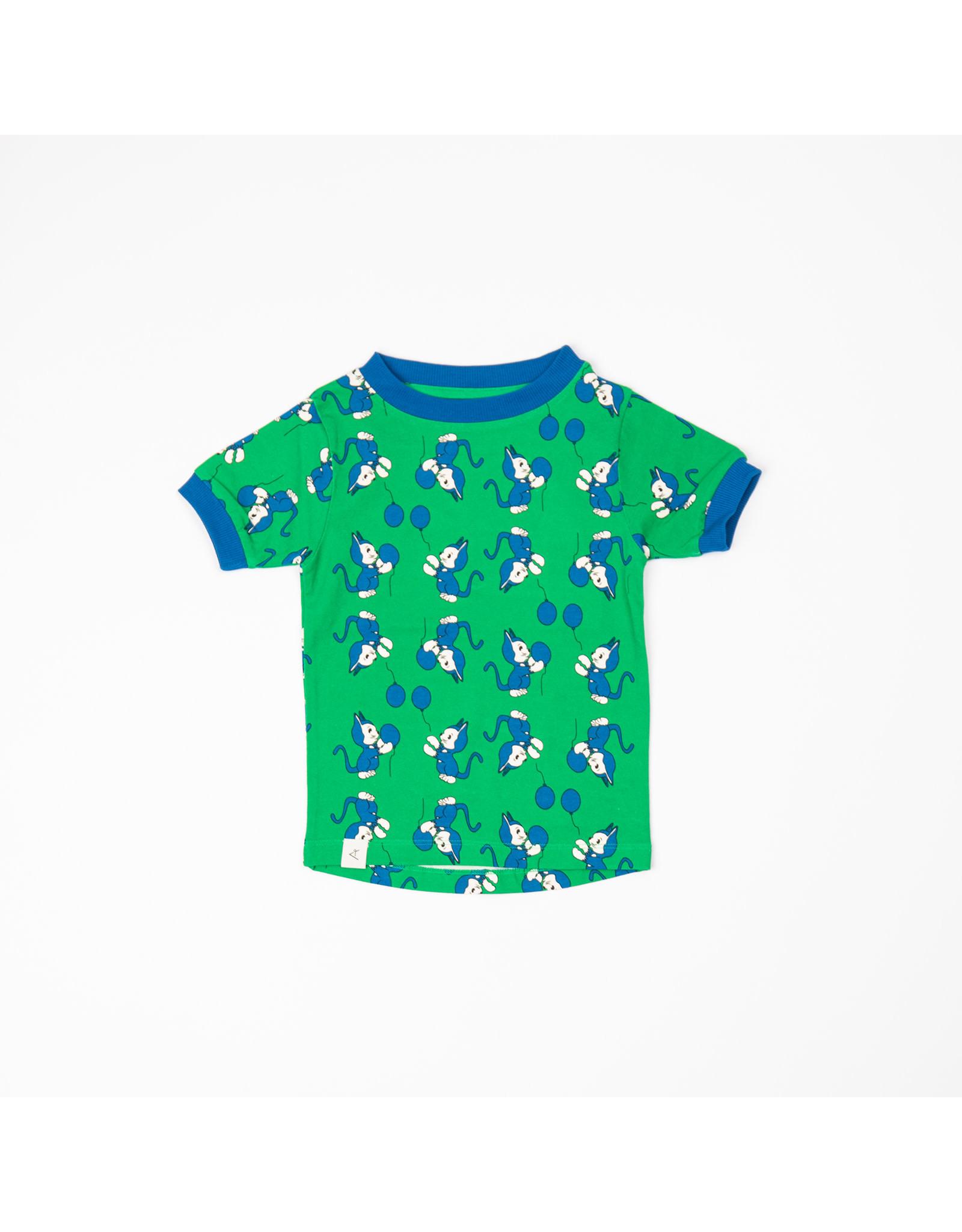 ALBA of Denmark Groene unisex t-shirt met poezenprint