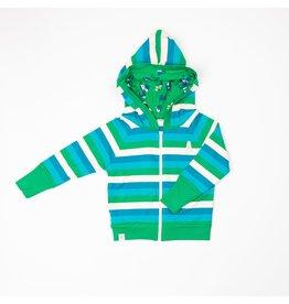 ALBA of Denmark Blauw-groen-wit gestreepte hoodie met rits