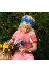 ALBA of Denmark Blauwe haarband met witte bloemetjes